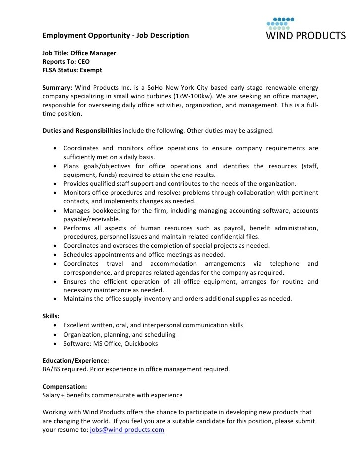 Wind Products Office Manager Job Description