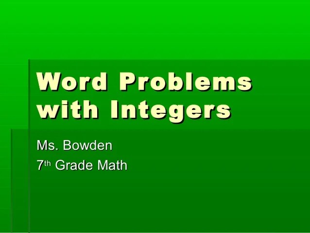 Seven Grade Math Word Problems Answers