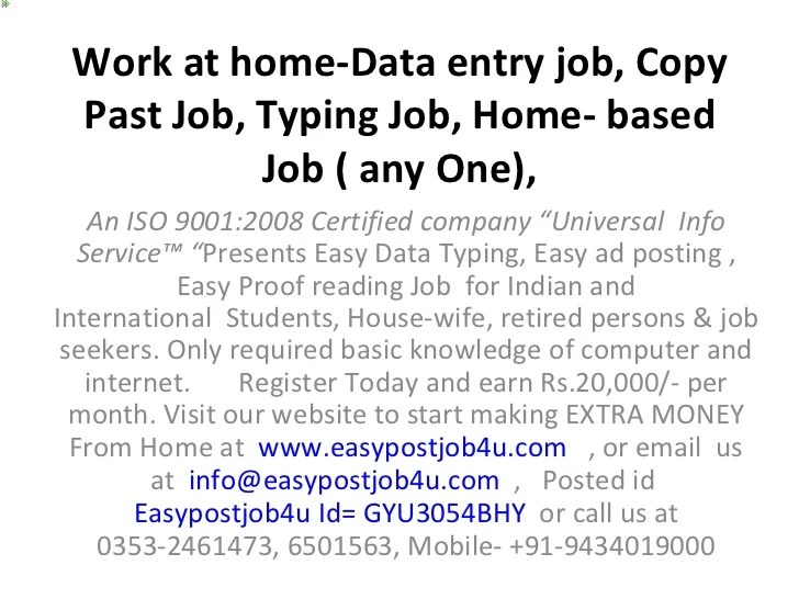 Typing Job Copy Past Job Offline Data Entry Job Home Based Job Do