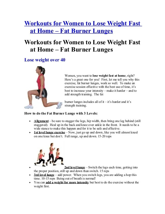workouts for women to lose weight fast at home fat burner lunge 1 638 cb 1362077826