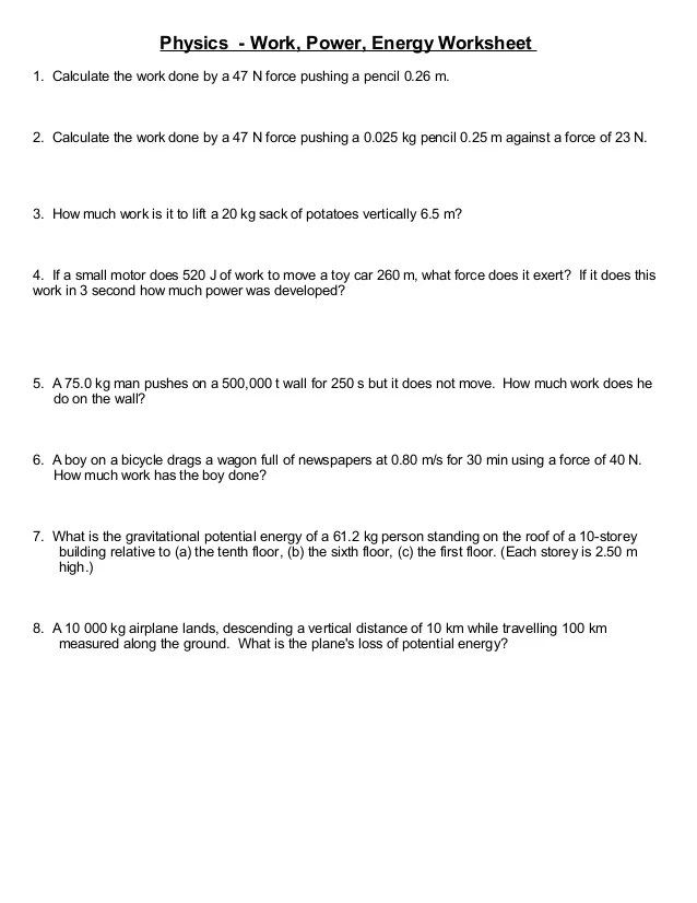 Energy Calculations Worksheet Photos