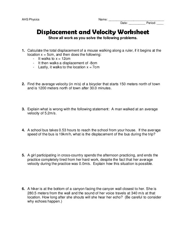 Worksheet 3 Displacementandvelocity