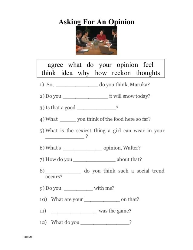 Asking And Giving Opinion Exercise : asking, giving, opinion, exercise, Worksheets, Language, Functions