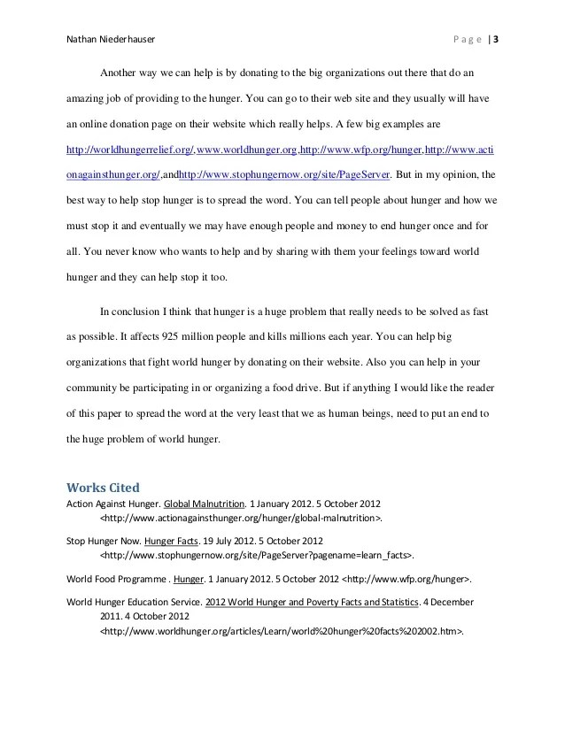 World Hunger Research Paper Final