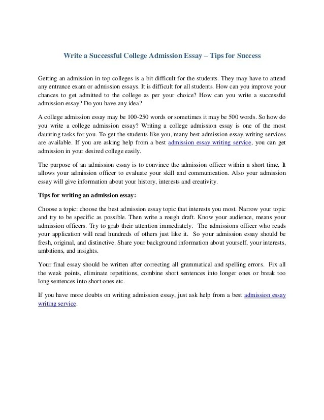 Write a successful college admission essay tips for success