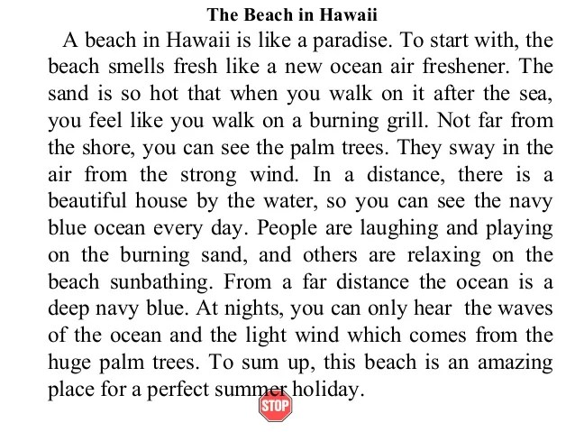 Short descriptive essay beach