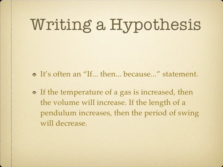 Writing The Hypothesis Original Content