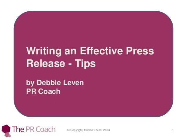 Writing an effective press release tips