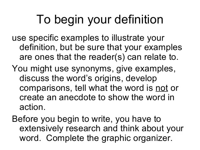 Writing An Extended Definition 2010