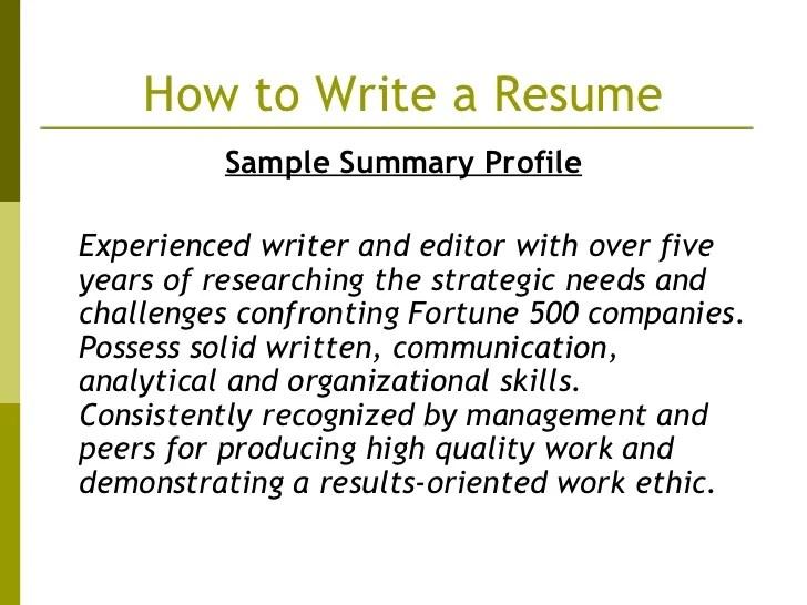 resume profile third person