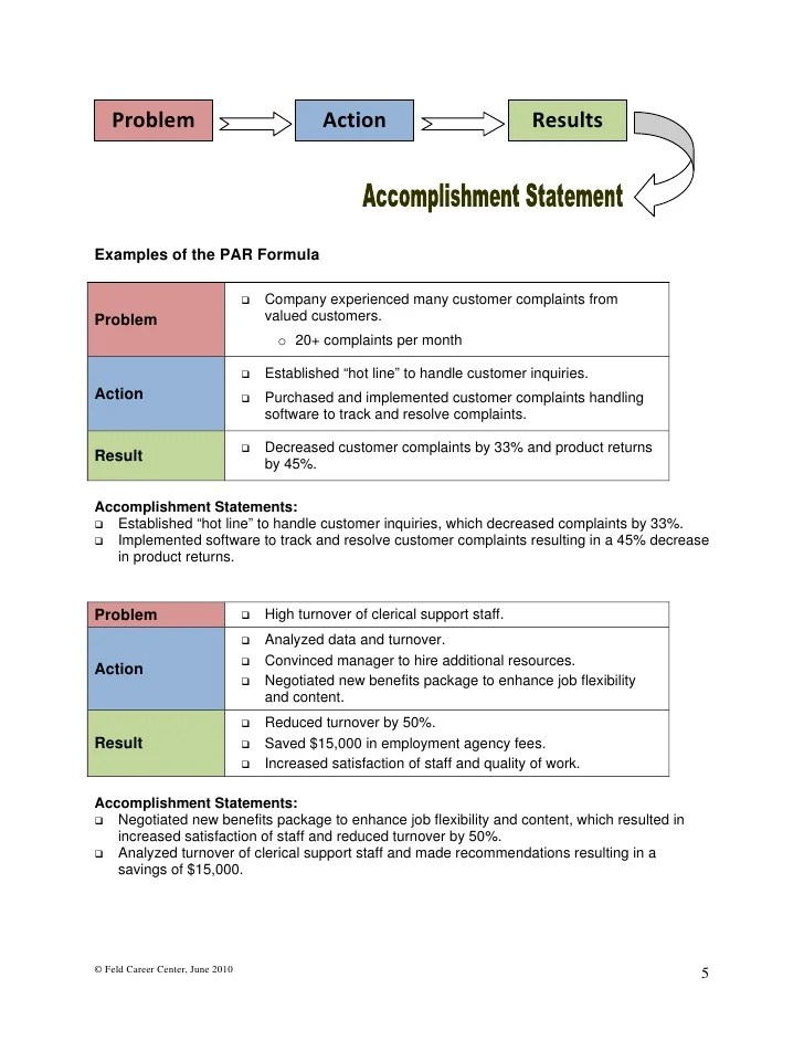 resume action statement examples