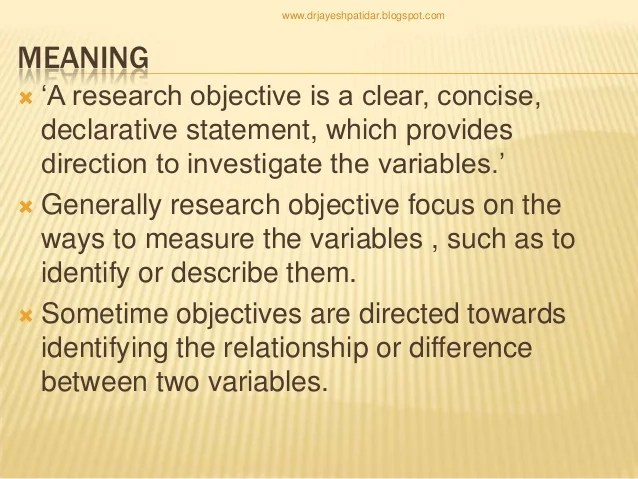 Writing Research Objectives