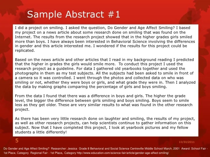 science fair abstract example