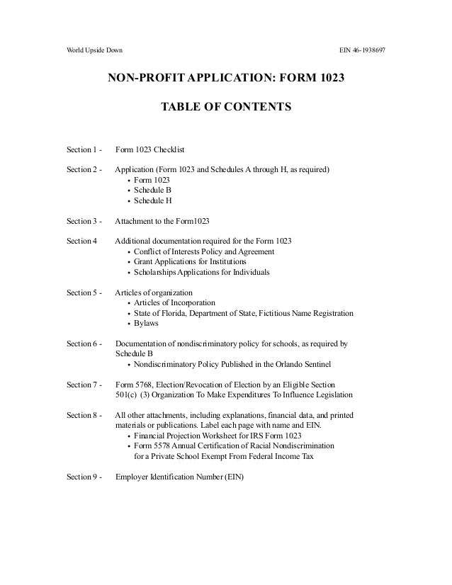 World Upside Down 501 C 3 Non Profit Application
