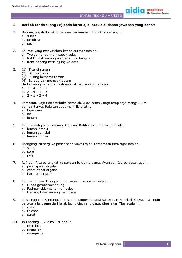 Soal Bahasa Indonesia Kelas 2 Semester 2 : bahasa, indonesia, kelas, semester, Www.banksoal.web.id], Latihan, Bahasa, Indonesia, Kelas, Pake…