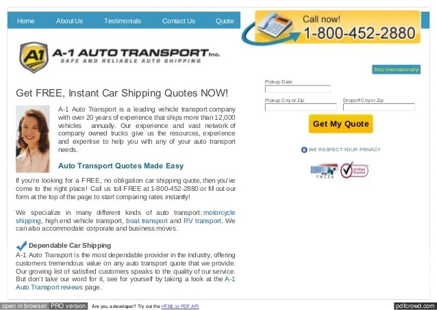 free vehicle shipping quotes stop start wiring diagram single phase car from a 1 auto transport