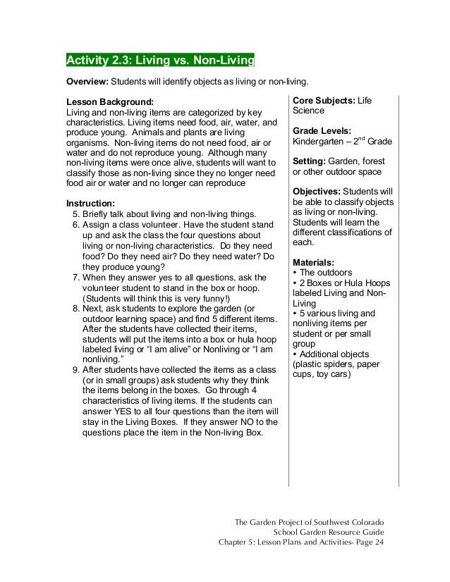 Living Non Living Worksheets Grade 1
