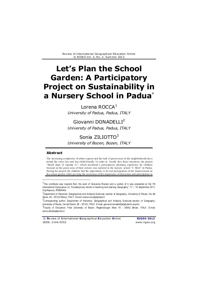 Let's Plan The School Garden A Participatory Project On