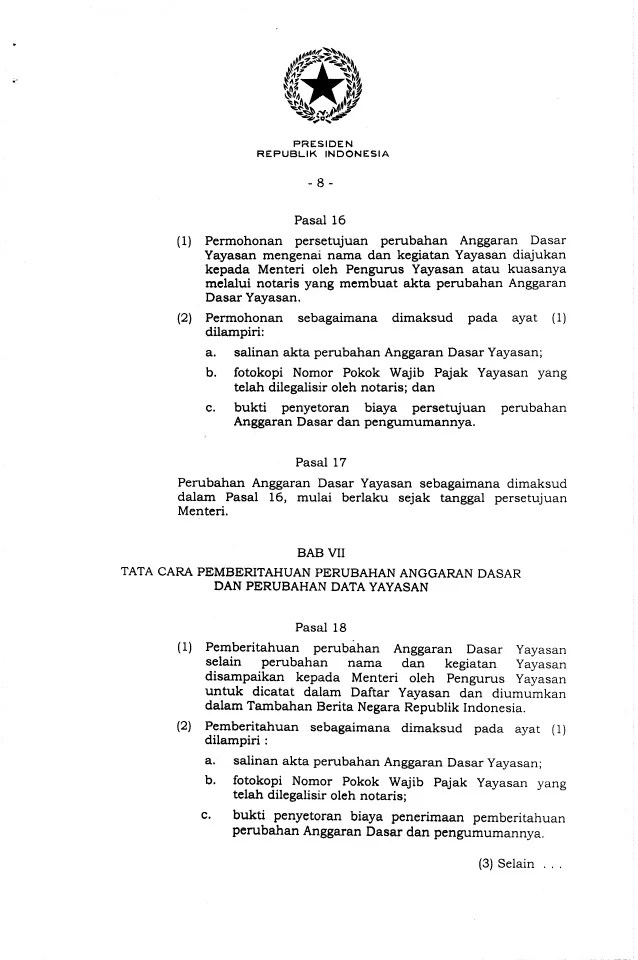 Contoh Akta Notaris Perubahan Pengurus Yayasan Barisan Contoh Cute766