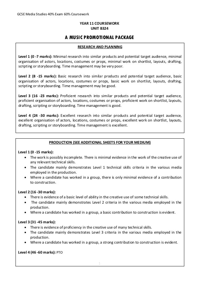 Year 11 Coursework Evaluation Guidance