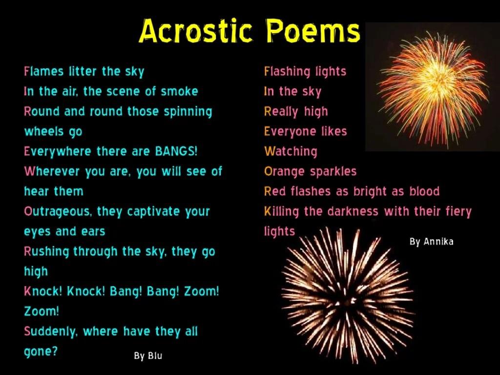 Year 7 Firework Poems
