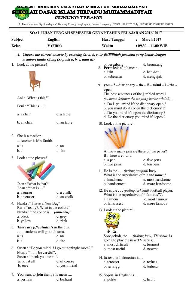 Soal UTS Bahasa Inggris Kelas 5 Semester 1 - PDF Free Download