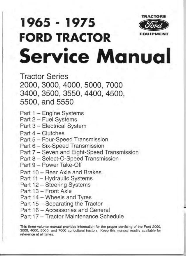 Ford 5000 Tractor Parts Diagram : tractor, parts, diagram, Tractor, Service, Repair, Manual