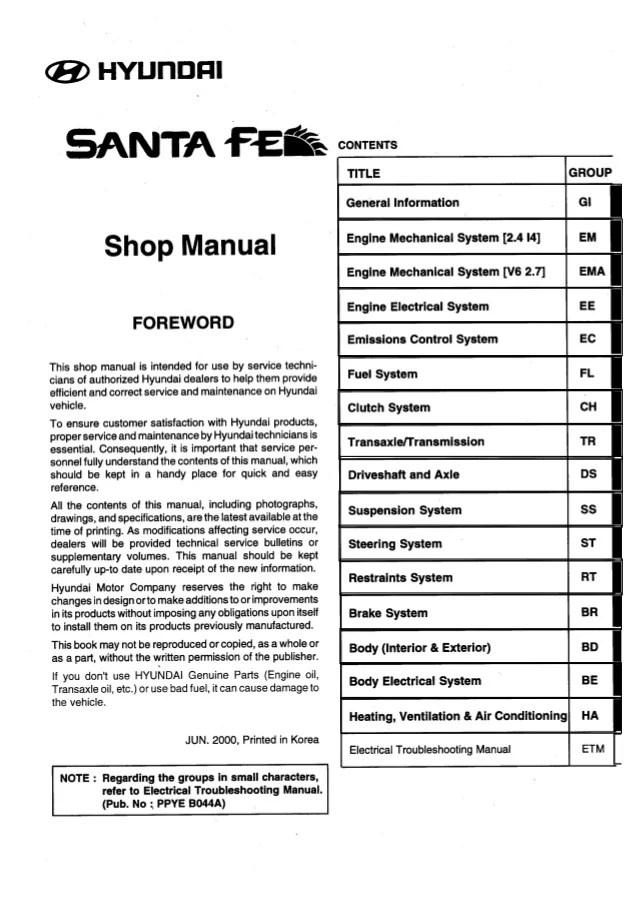 2005 hyundai santa fe service repair manual