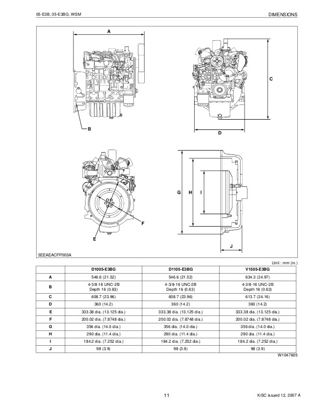 KUBOTA D1005E3BG DIESEL ENGINE Service Repair Manual