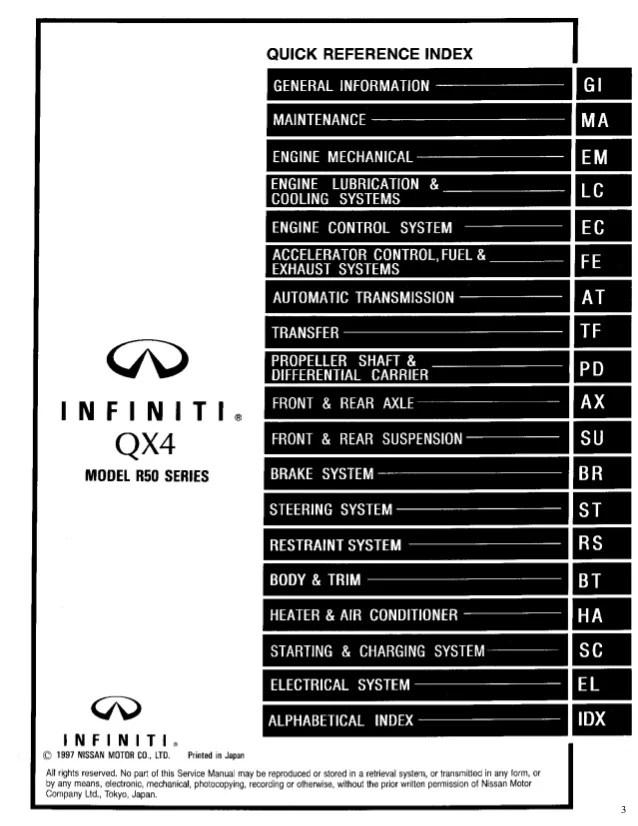 1998 INFINITI QX4 Service Repair Manual