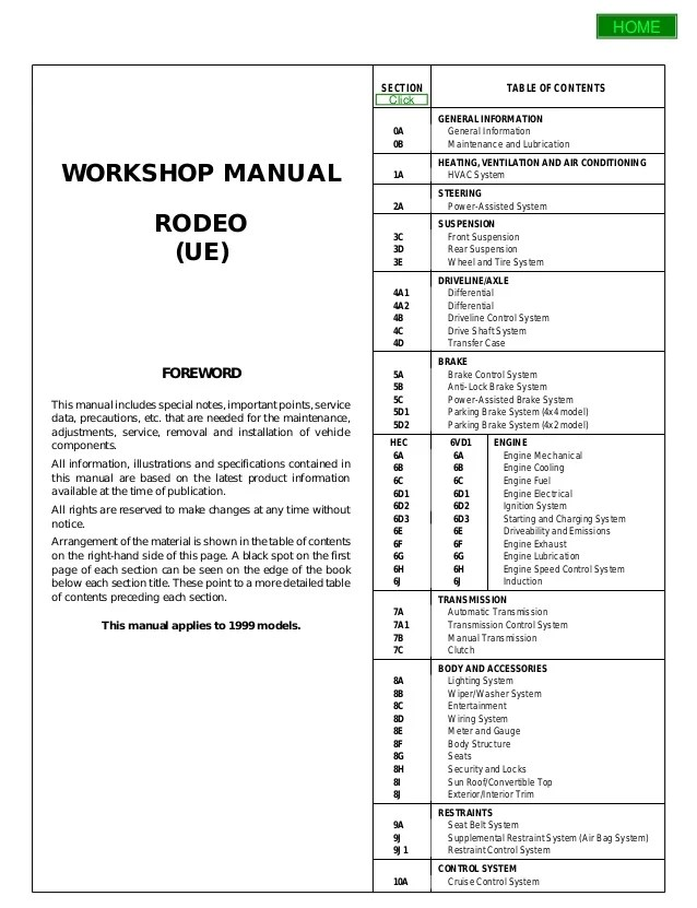 2004 Isuzu Axiom Owners Manual