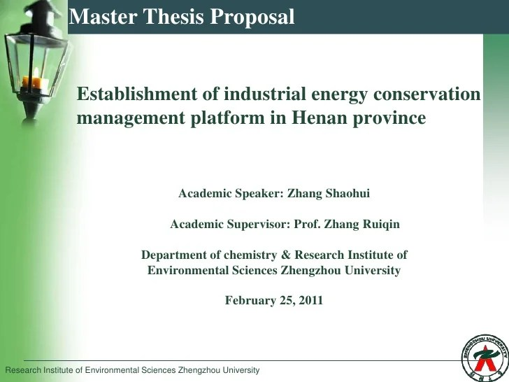 Zhang Shaohui Master Thesis Proposal
