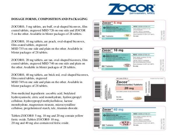 Zocor product monograph