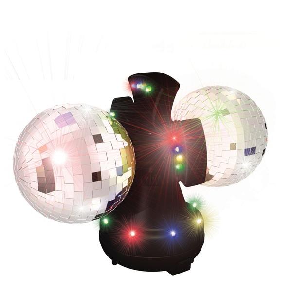 Twin Mirror Coaster Ball  Disco Lights UK