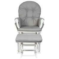 Babylo Milan Glider Chair and Footstool - White/Grey ...