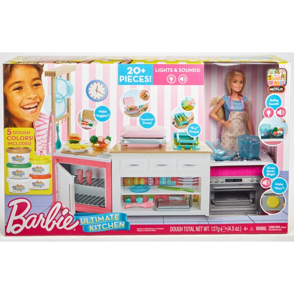 barbie kitchen playset gel pro mat ultimate with doll and accessories