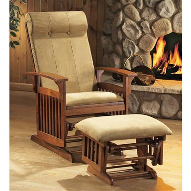 Missionstyle Glider Rocker with Ottoman Oak Finish