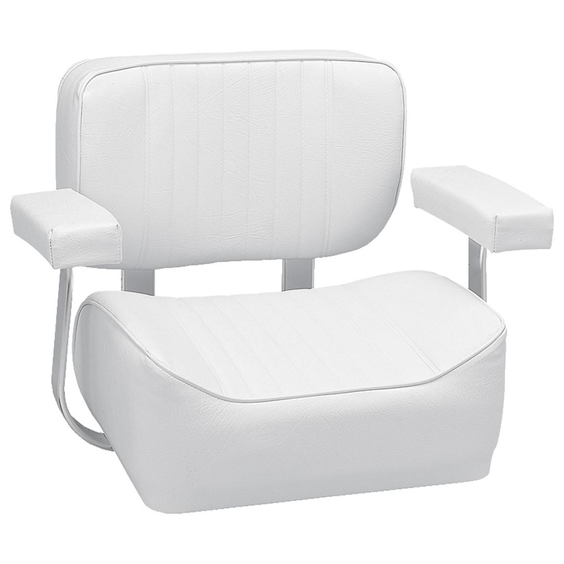 fishing chair with arms walker bouncing wise offshore deluxe helm arm rests white