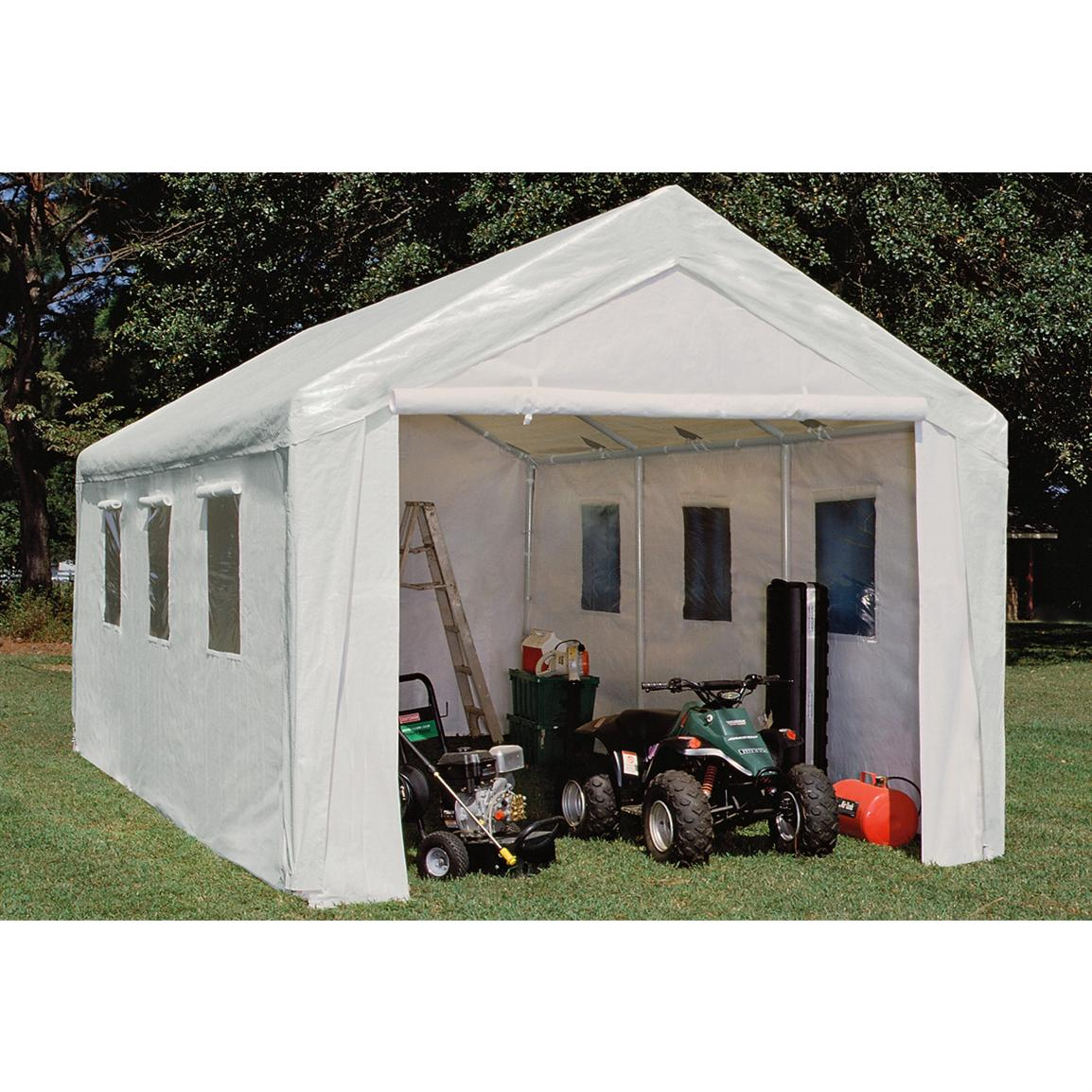 10x20 Hercules Snow Load Canopy Shelter  Garage White