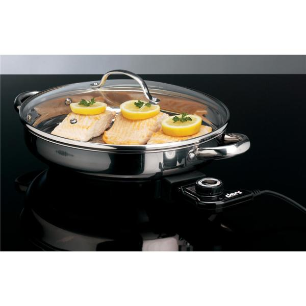 "12"" Deni Stainless Steel Electric Skillet - 226167"