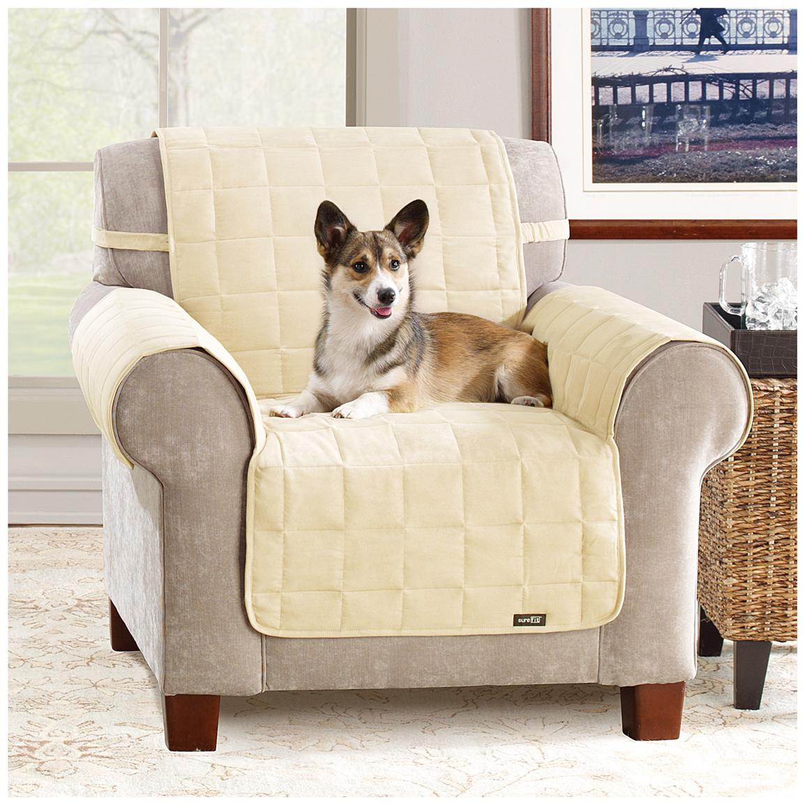 Pet Chair Covers Sure Fit Waterproof Quilted Suede Chair Pet Cover