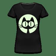 Koszulka damska premium - Koszulki Słodki rysunkowy księżycowy kot -Cheerful Madness! Koszulki