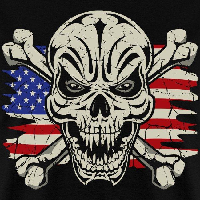 Skull Crossbones Usa Flag Mens T Shirt Extreme Badass