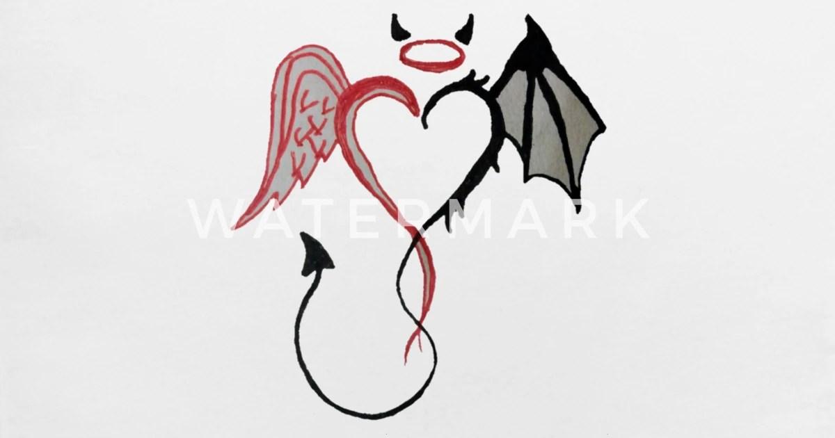 angel devil heart red