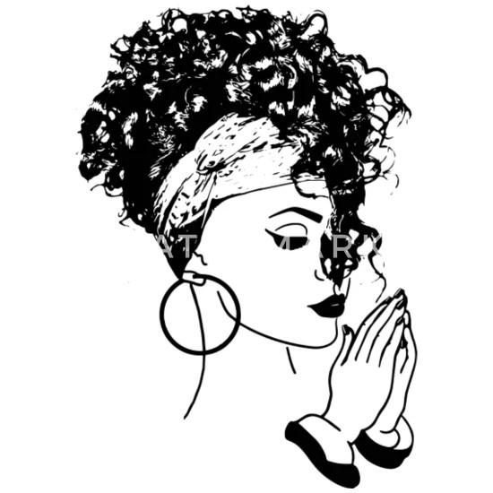 Black Woman with turban praying African American Small