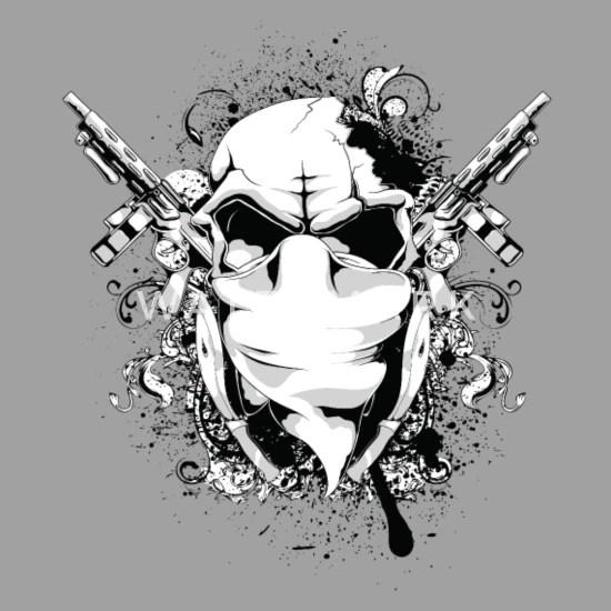 skulls guns unisex baseball