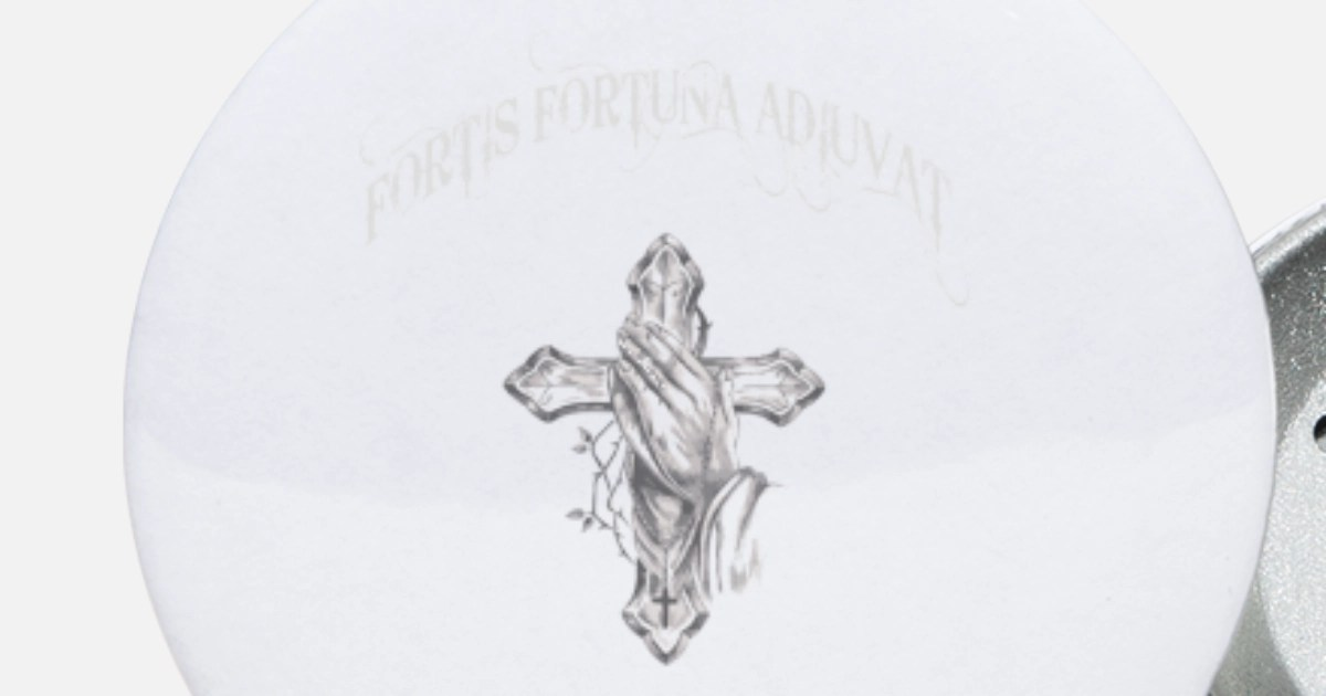 Fortis Fortuna Adiuvat Cross And Hand Tattoo Small Buttons