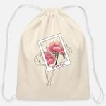 Pink Flowers Aesthetic Design Cotton Drawstring Bag Spreadshirt
