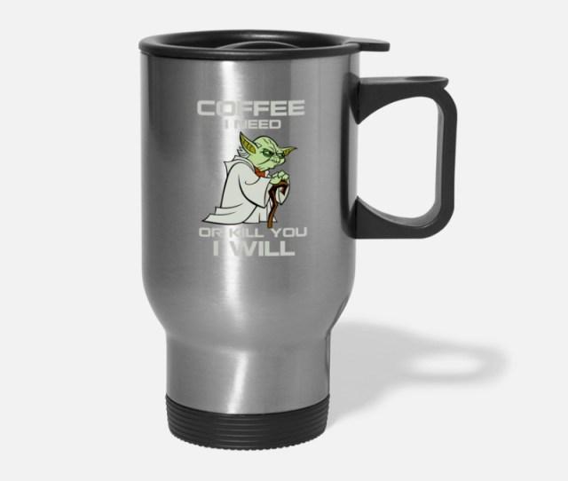 Coffee Mugs Drinkware Yoda Coffee Travel Mug Silver
