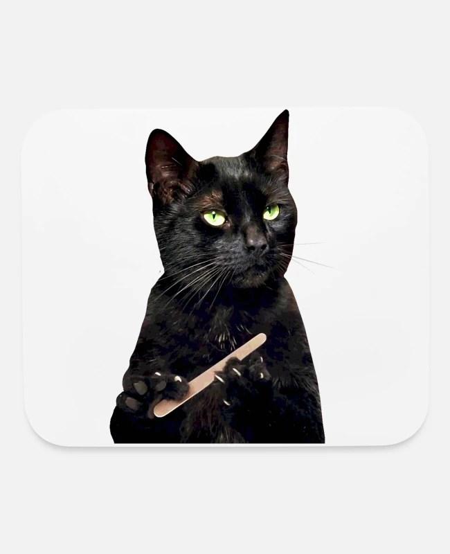 Black Cat Filing Nails : black, filing, nails, Nonplussed, Black, Filing, Nails', Mouse, Spreadshirt